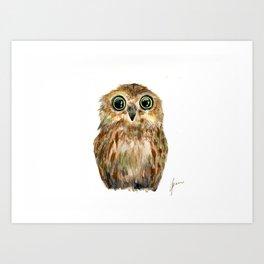 watercolor painting owl Art Print