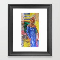 Girl in blue dress Framed Art Print
