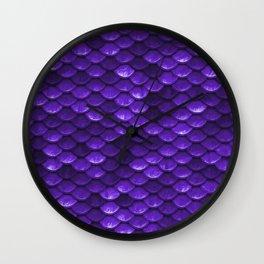 Beautiful grape purple mermaid fish Scales Wall Clock