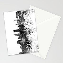 Jacksonville skyline in black watercolor Stationery Cards
