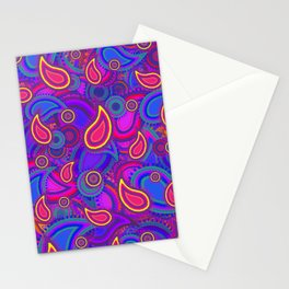 Purple Paisley Pattern Stationery Cards