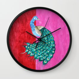 Pink Peacock Wall Clock