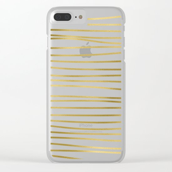 Small uneven gold glitter stripes on clear white - horizontal pattern on #Society6 Clear iPhone Case