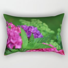 Vibrant and Colorful Pink Magenta and Purple Hydrangea Hortensia Flower Rectangular Pillow