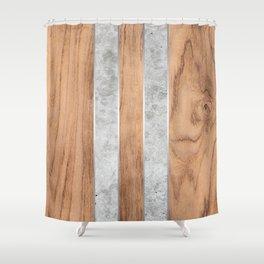 Wood Grain Stripes - Concrete #347 Shower Curtain