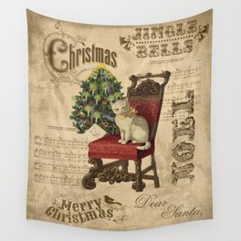 Vintage Christmas Cat Wall Tapestry