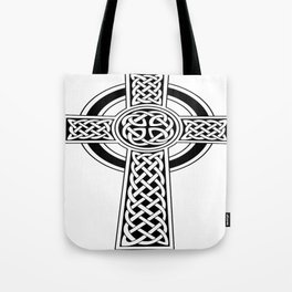 St Patrick's Day Celtic Cross Black and White Tote Bag