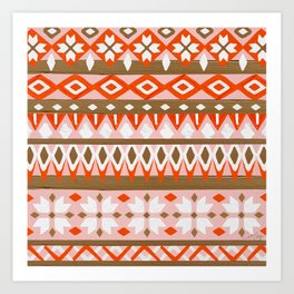 Winter Knit – Red & Burnt Sienna Art Print