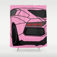 lamborghini Shower Curtains featuring Lamborghini Aventador by societystar