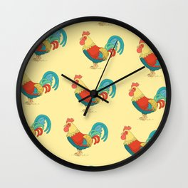 Cute Colorful Rooster Pattern Wall Clock