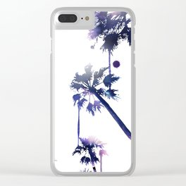Sunset Palm Trees Clear iPhone Case