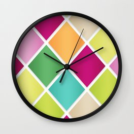 Modern Diamond Geometric Pattern Design // Pink Orange Green Blue Wall Clock