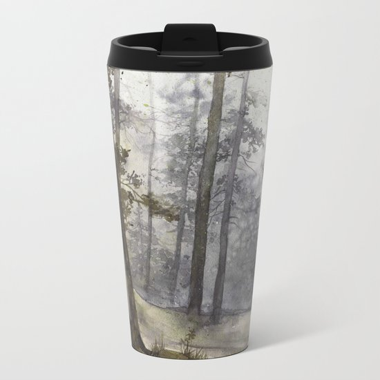 Wet Morning in the Forest Metal Travel Mug