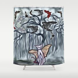 Halloween Twilight Tree with Bats, Black Ravens & Flying Cats Shower Curtain