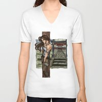 lara croft V-neck T-shirts featuring Lara Croft Japan by memo_alatouly