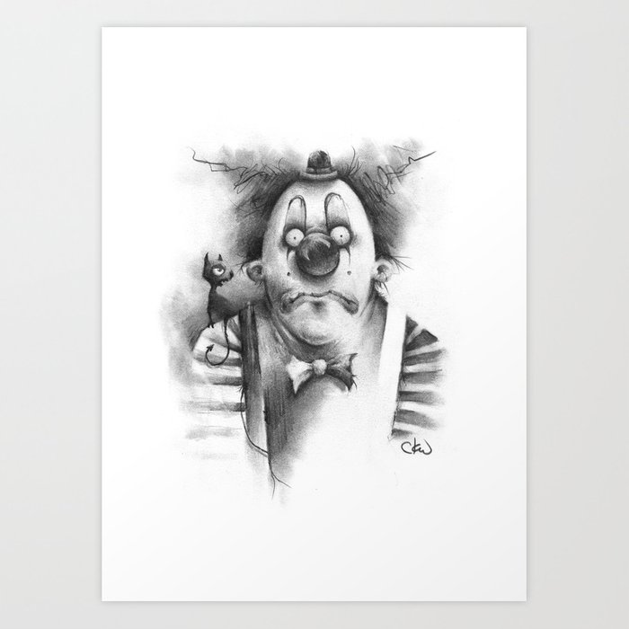 The Inner Demon Of A Sad Clown Art Print By Cwehrle Society6