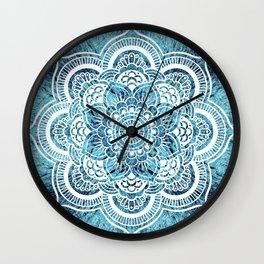 Aqua Turquoise Mandala Wall Clock