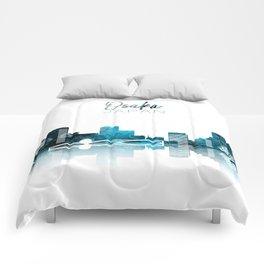 Osaka Monochrome Blue Skyline Comforters