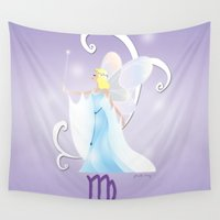 virgo Wall Tapestries featuring Zodiaque - Virgo by AmadeuxArt