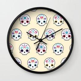 Cute sugar skulls Wall Clock