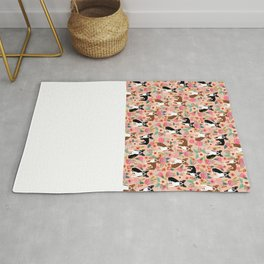 Boston Terrier cute floral pattern spring summer happy pet portrait dog person gift must haves dogs Rug