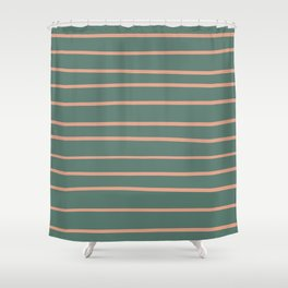 Earthen Trail Pink 4-26 Hand Drawn Horizontal Lines on Thistle Green 22-18 Shower Curtain