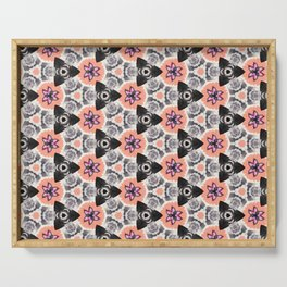 Handmade Pink and Black Kaleidoscope Pattern Serving Tray
