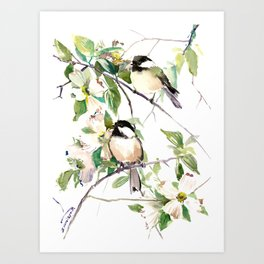 Chickadees and Dogwood Flowers Art Print