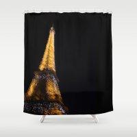 eiffel tower Shower Curtains featuring Eiffel Tower by Emily Werboff