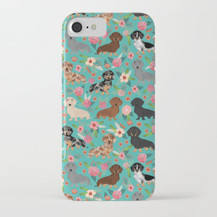 dachshund florals flower pet portrait dog art dachsie doxie pet art dog breeds iphone case