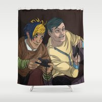 video games Shower Curtains featuring Video Games by Viktor Macháček