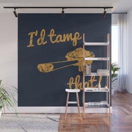 I'd Tamp That! (Espresso Portafilter) // Mustard Yellow Barista Coffee Shop Humor Graphic Design Wall Mural