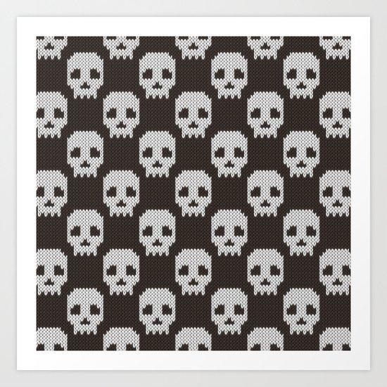 Knitted skull pattern Art Print