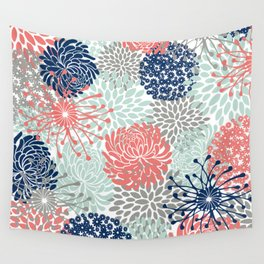 Floral Print - Coral Pink, Pale Aqua Blue, Gray, Navy Wall Tapestry