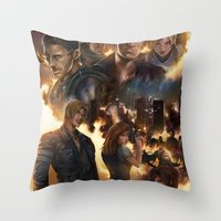 resident evil Throw Pillows featuring Resident Evil 6 by Dr-Salvador
