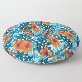 Tropical Hibiscus Pattern Orange Floor Pillow