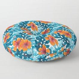 Tropical Hibiscus Pattern Orange Floor Pillow