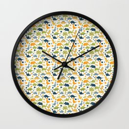 Dinosaurs in Blue Orange and Apple Green Colors Wall Clock