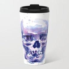 Skull Watercolor Purple Colorful Metal Travel Mug