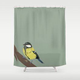 Polly - Great Tit Shower Curtain