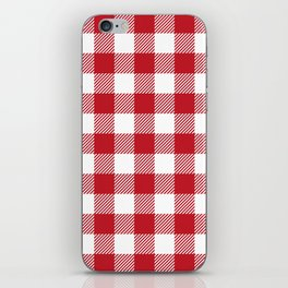 Buffalo Plaid - Red & White iPhone Skin