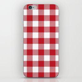 Buffalo Plaid - Red & White iPhone Skin
