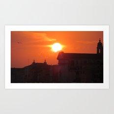 Dark Buildings and Sun  Art Print