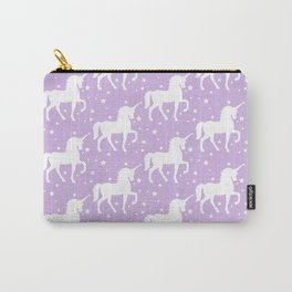 Purple Unicorn and Stars Pattern Carry-All Pouch