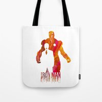 iron man Tote Bags featuring Iron Man by Jon Hernandez