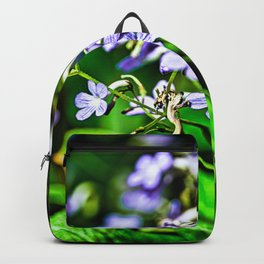 Blue, Violet & White Cluster Of Small Flowers Closeup Backpack