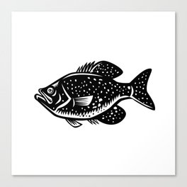 Crappie Fish Woodcut Canvas Print