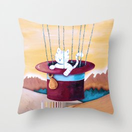 The cat traveling in dreams Throw Pillow