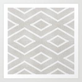 Stitch Diamond Tribal Print in Grey Art Print