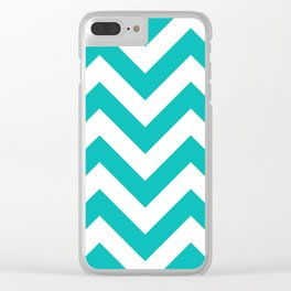 Large chevron pattern / tiffany blue Clear iPhone Case